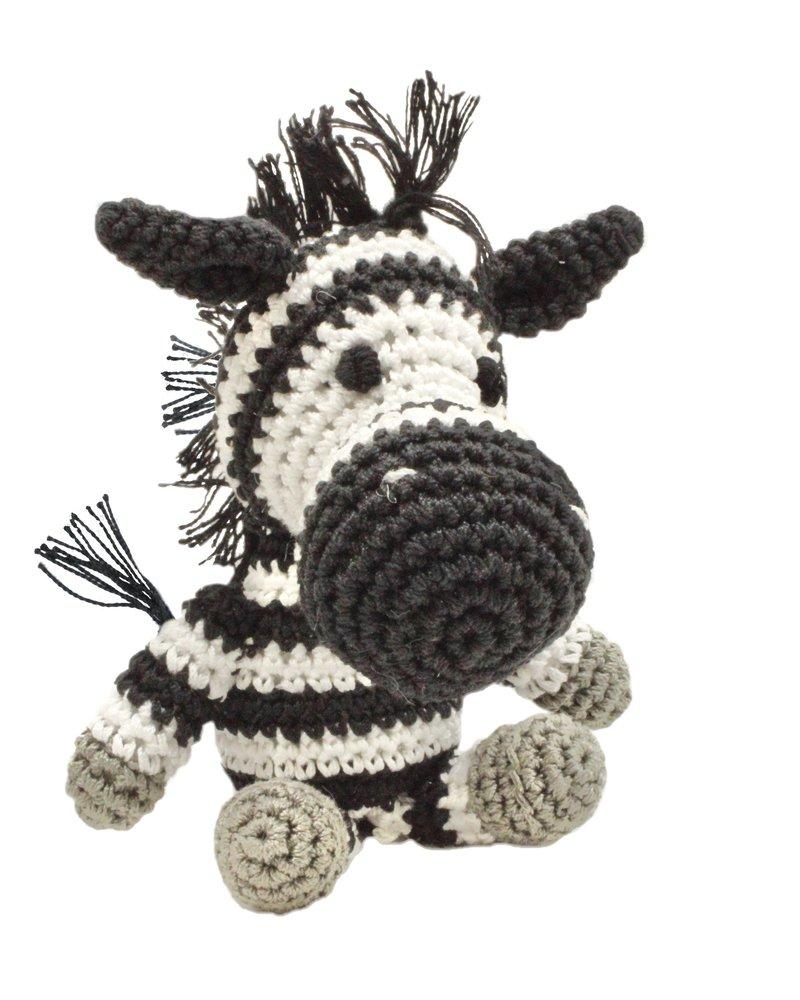 Pet Flys Crochet Knit Knack Zebra Toy