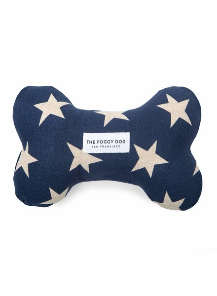 The Foggy Dog Navy Stars Bone Toy
