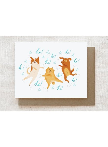 Quirky Paper Co. Hi! Hi! Hi! Excited Dogs Greeting Card