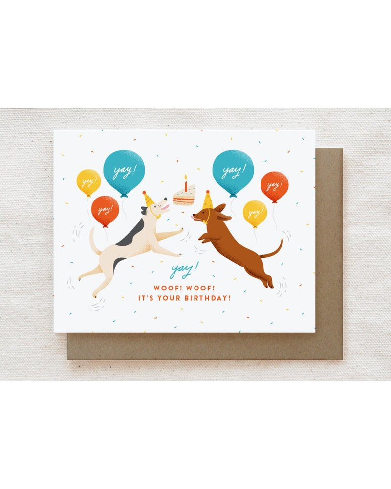 Quirky Paper Co. Excited Dogs Birthday Greeting Card