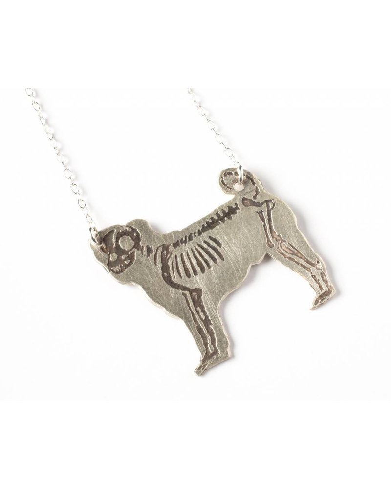 J. Topolski Skeleton Pug Necklace