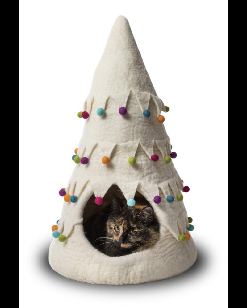 Dharma Dog Karma Cat Holiday Tree Cat Cave - White