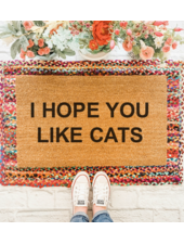 Nine to Wine Design I Hope You Like Cats Doormat
