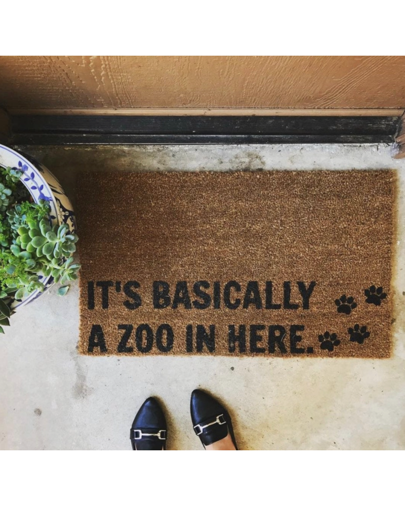 Nine to Wine Design It's Basically A Zoo In Here Doormat