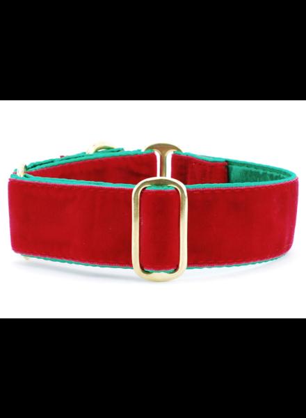 "2 Hounds Design Martingale Collar - Holiday Velvet Red 1.5"""