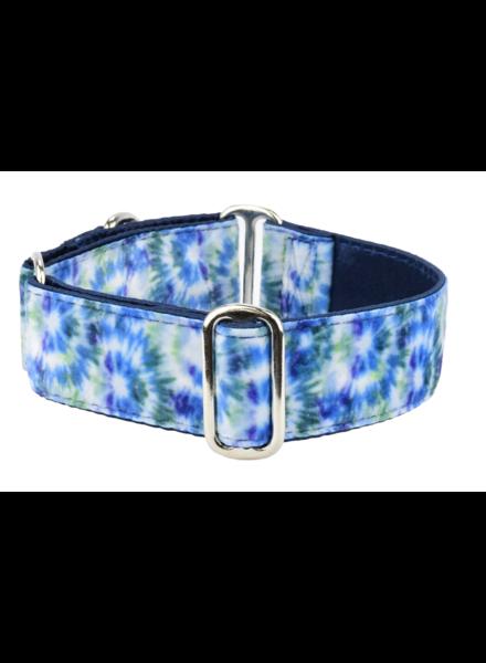 "2 Hounds Design Martingale Collar - Navy Tie-dye Velvet 1.5"""