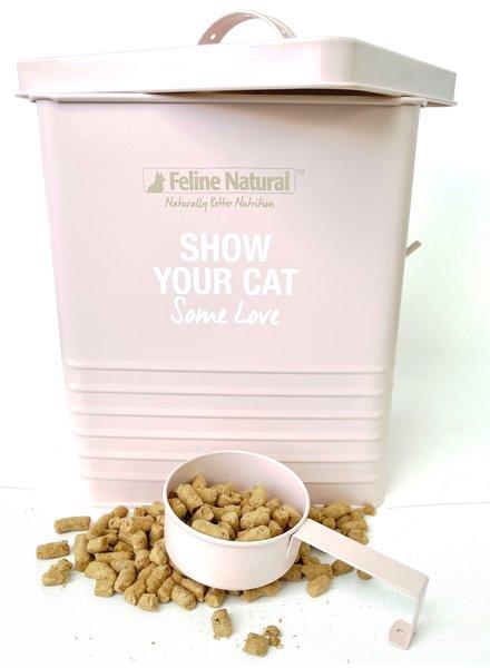 Feline Natural Cat Food Storage Tin & Scoop