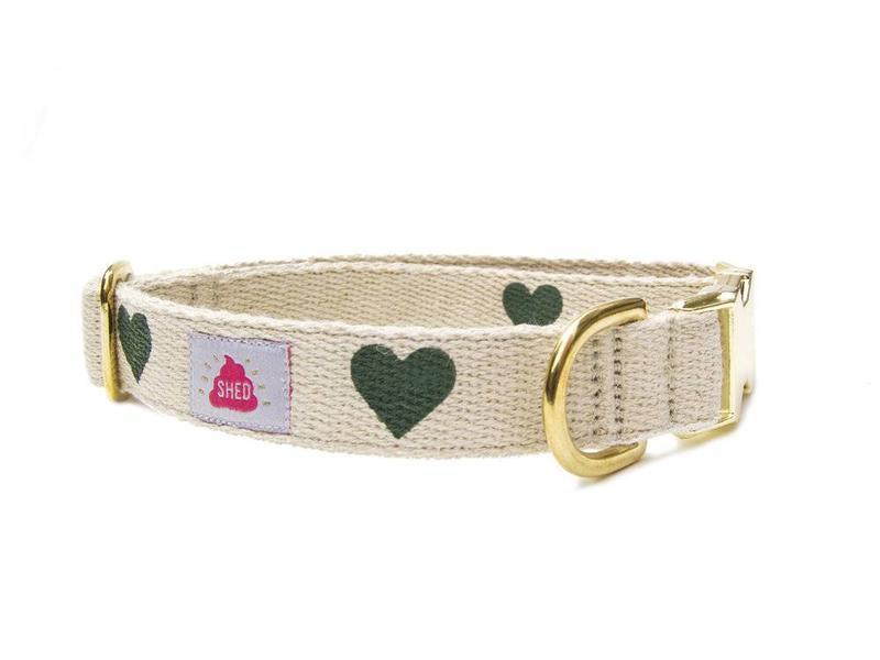 SHED Brooklyn Hemp Collar, Green Hearts