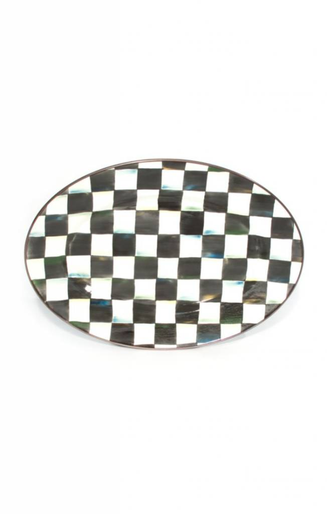 MacKenzie Childs Courtly Check Enamel Oval Platter-Small