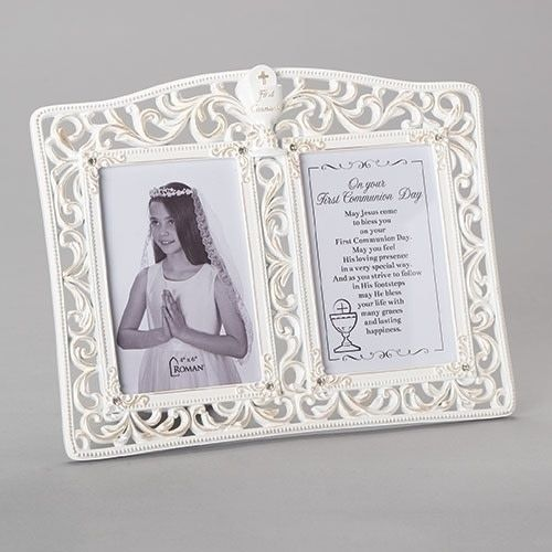 """9.25""""H COMMUNION DOUBLE FRAME HOLDS 2 4X6"""