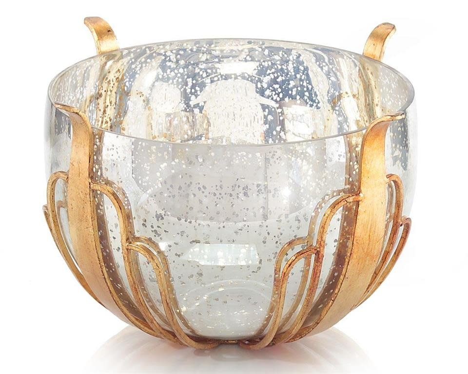 John Richard Mercury Glass Bowl In Gold Casing