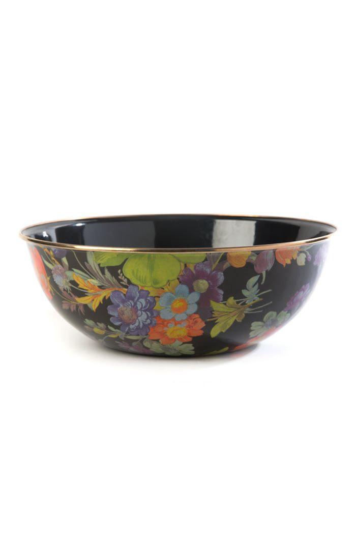 MacKenzie Childs Flower Market Extra Large Bowl - Black