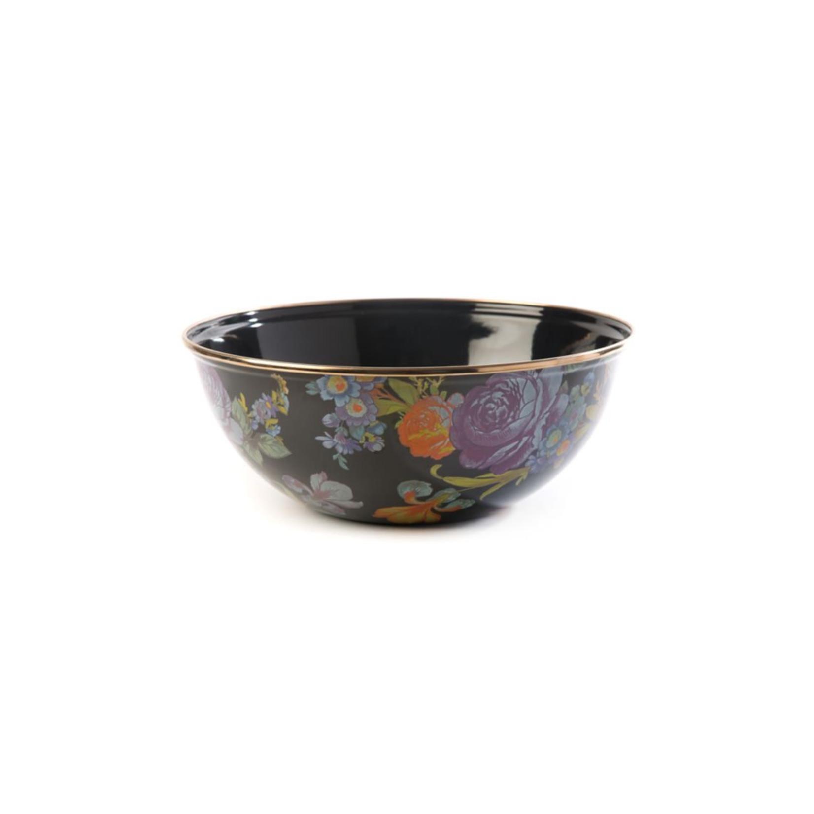MacKenzie Childs Flower Market Medium Everyday Bowl - Black