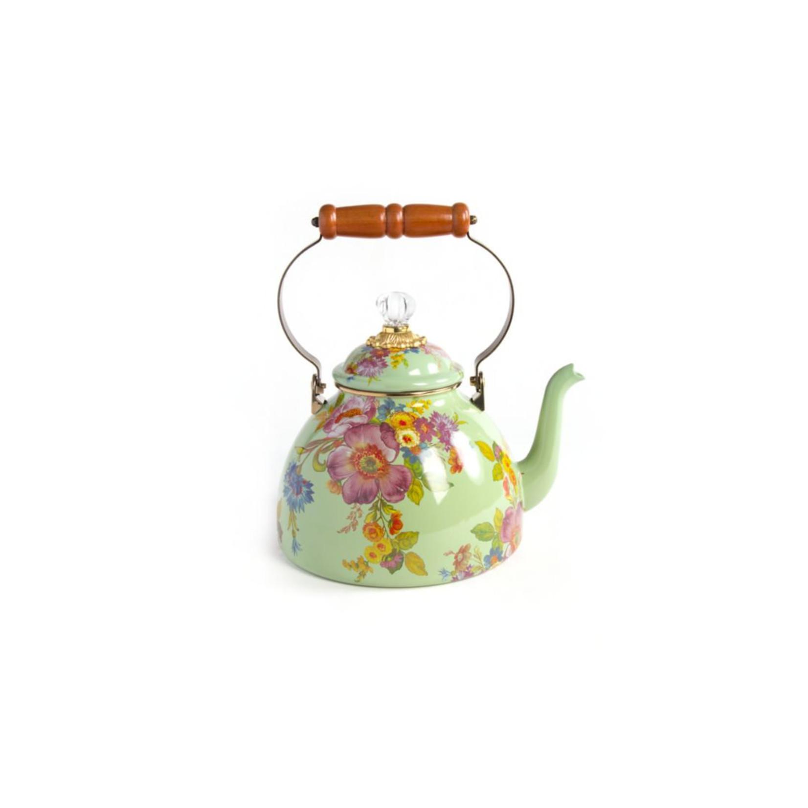 MacKenzie Childs Flower Market 3 Quart Tea Kettle - Green