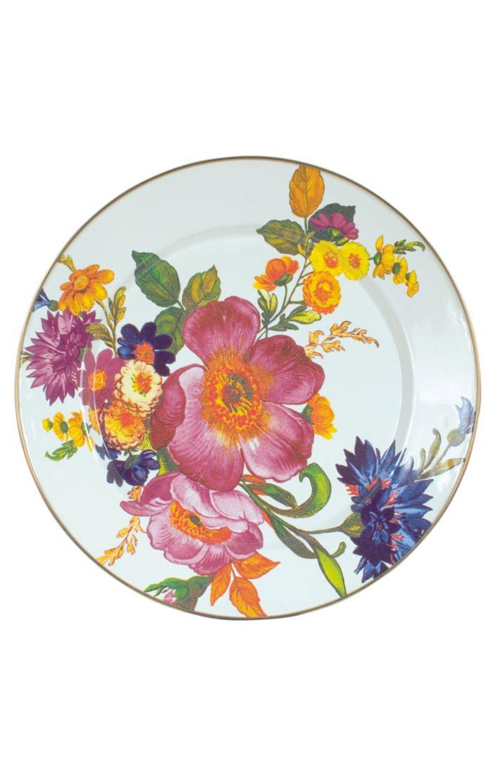 MacKenzie Childs Flower Market Charger/Plate - White
