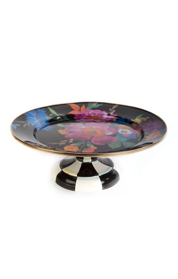 MacKenzie Childs Flower Market Small Pedestal Platter Black