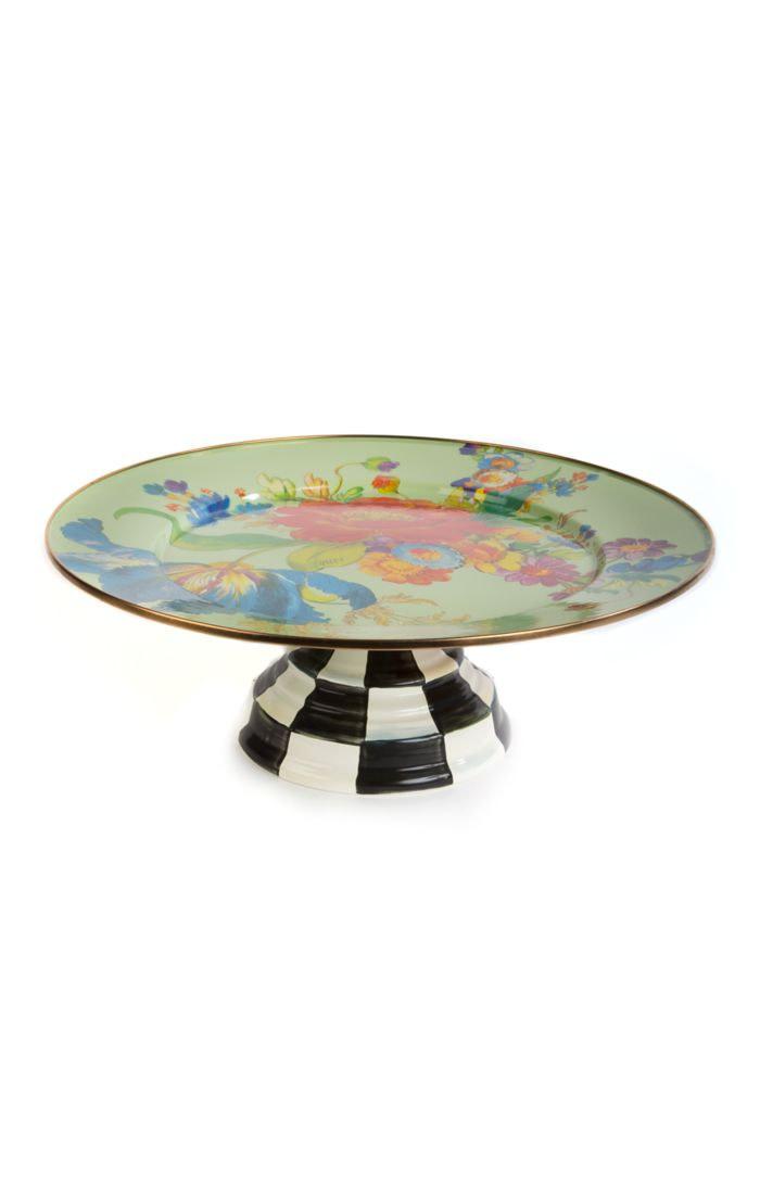 MacKenzie Childs Flower Market Pedestal Platter - Green