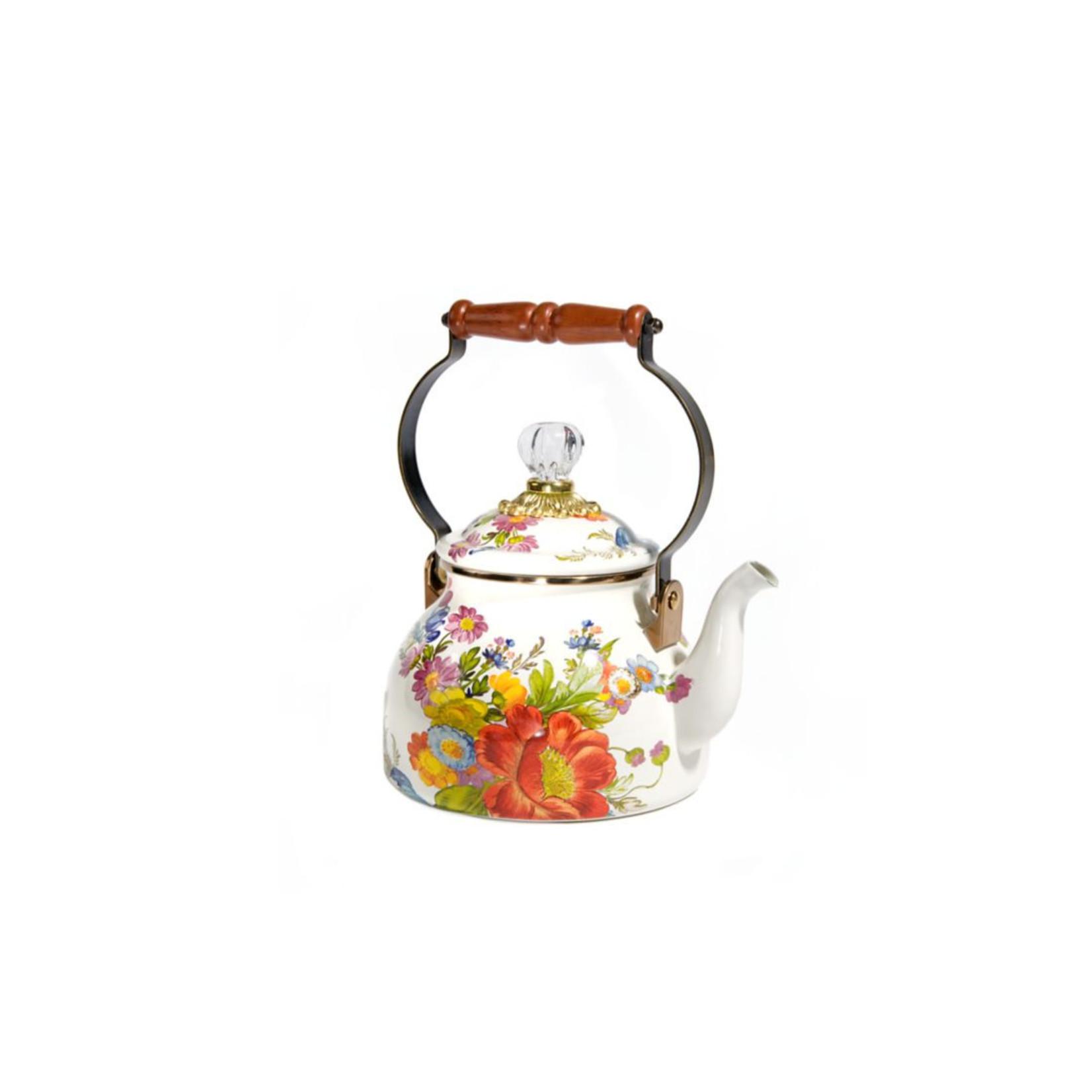MacKenzie Childs Flower Market 2 Quart Tea Kettle - White