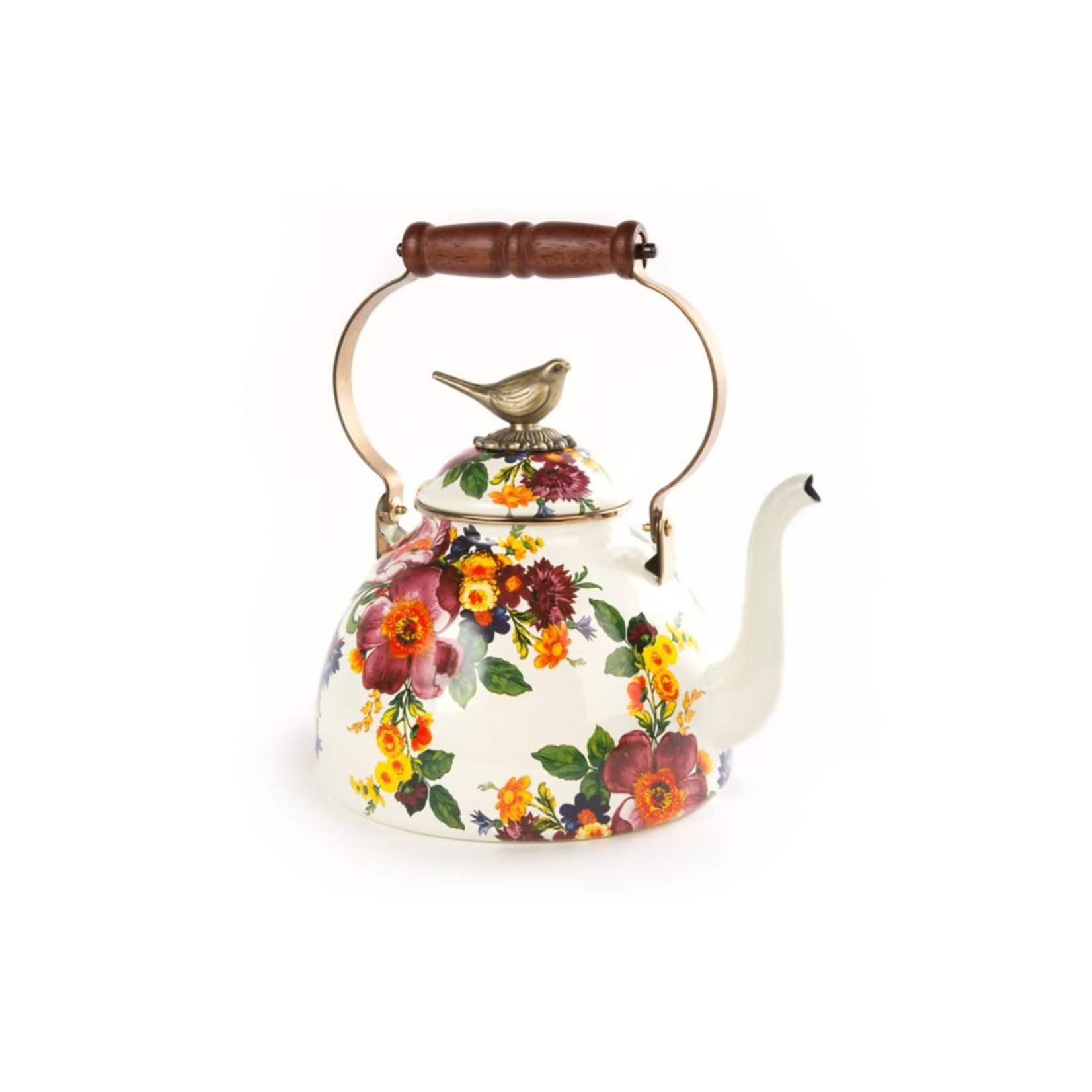 MacKenzie Childs Flower Market 3 QT Tea Kettle with bird