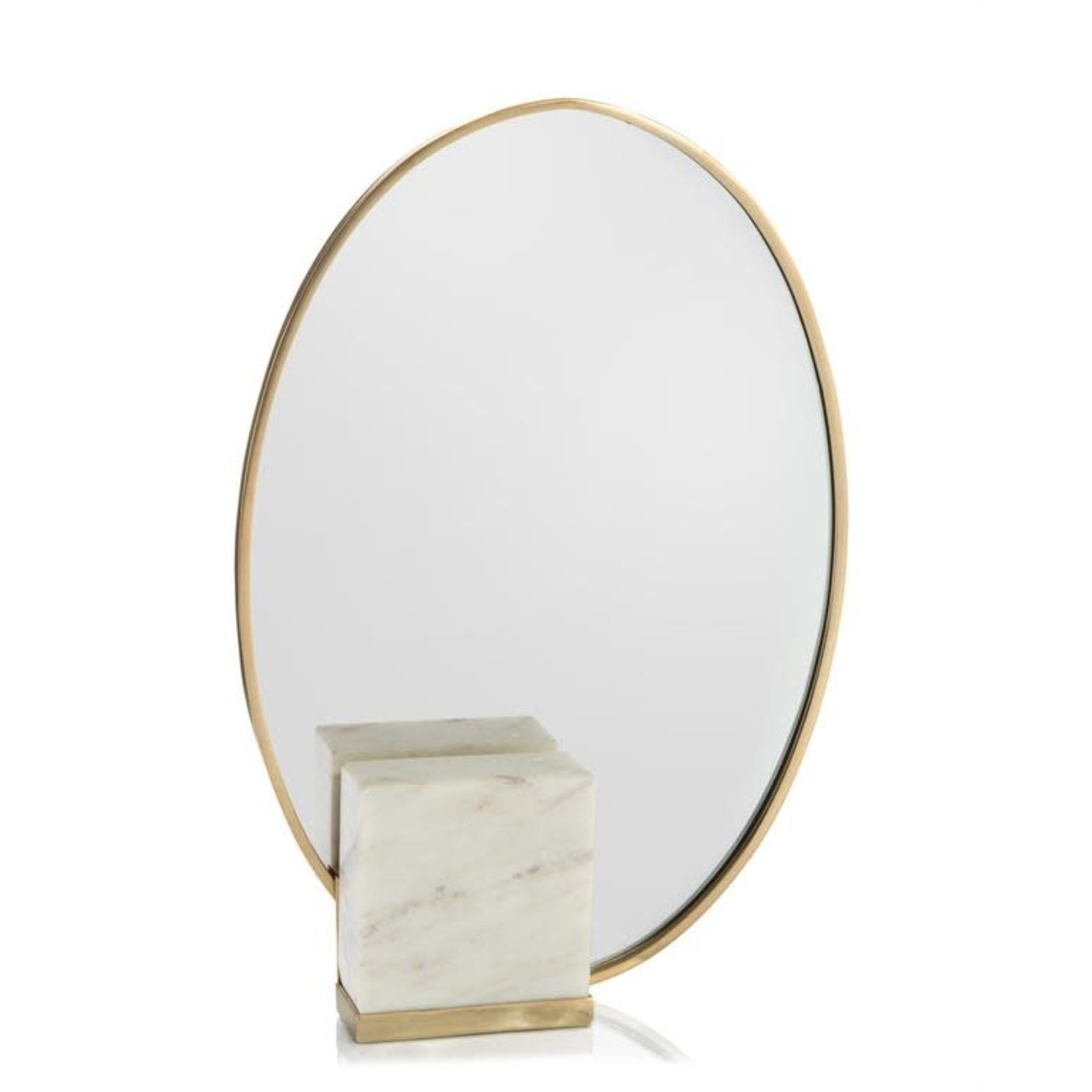 John Richard Oval Mirror in Brass and Marble