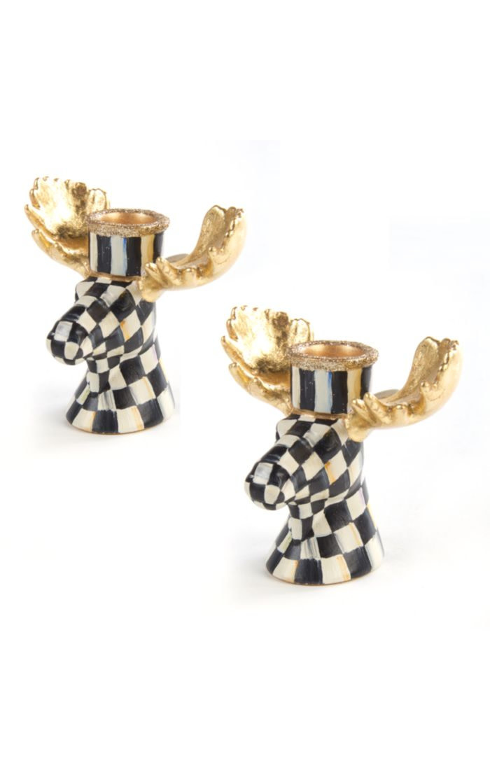 MacKenzie Childs Courtly Check Moose Candlesticks - Set of 2