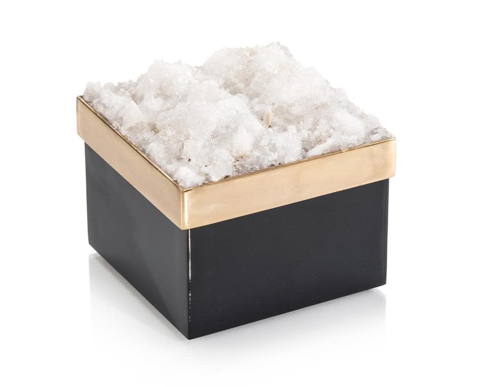 John Richard Square Black and Gold Quartz Box