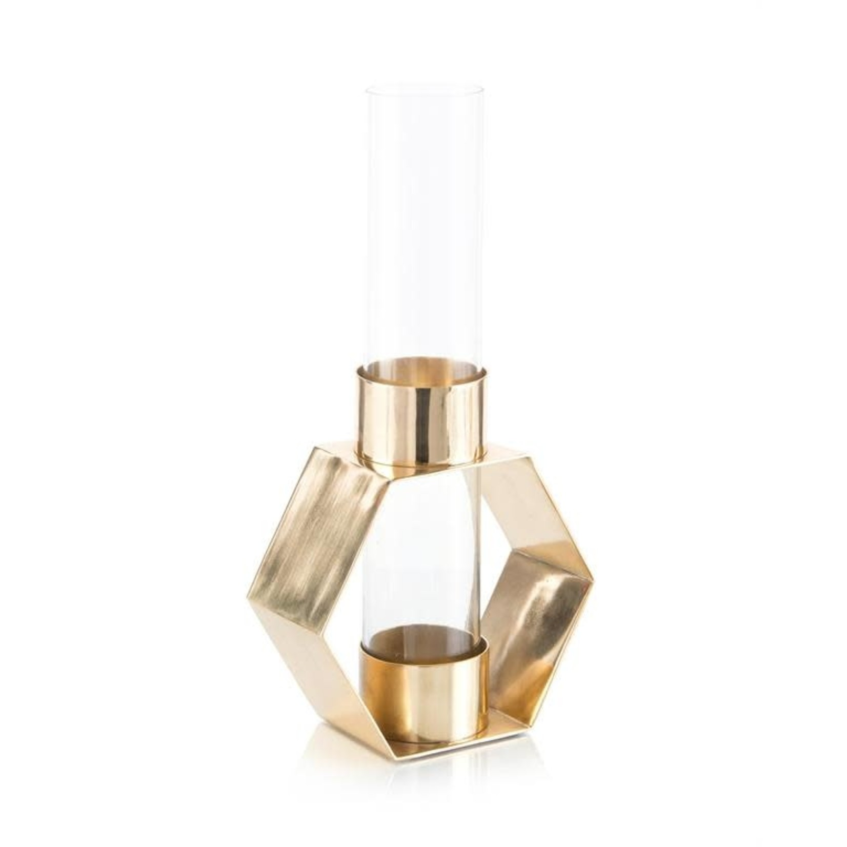 John Richard Penta Brass and Glass Vase