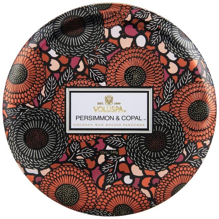 Voluspa Persimmon & Copal 3 Wick Candle in Decorative Tin