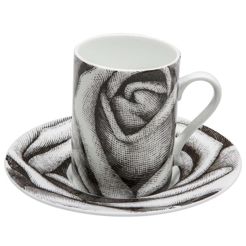 Black Pixel Coffee Cup Saucer