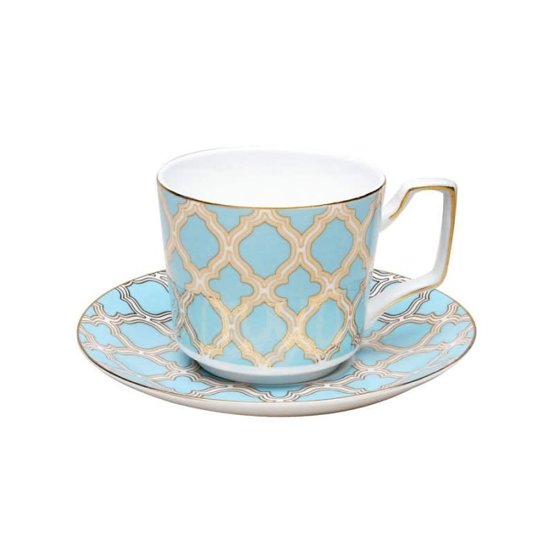 Debra Blue Silver Tea/Coffee Cup saucer Set of 4