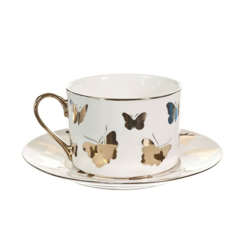 Gold butterfly Coffee Cup Saucer