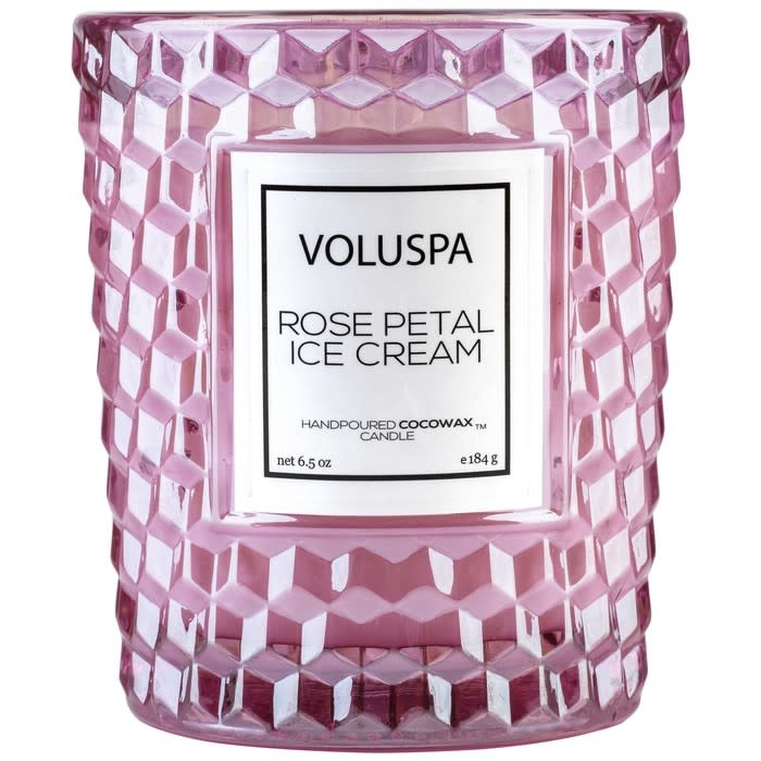 Voluspa Rose Petal Ice Cream Classic Candle in Textured Glass