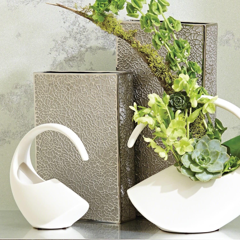 Organic Lace Vase - Silver Medium