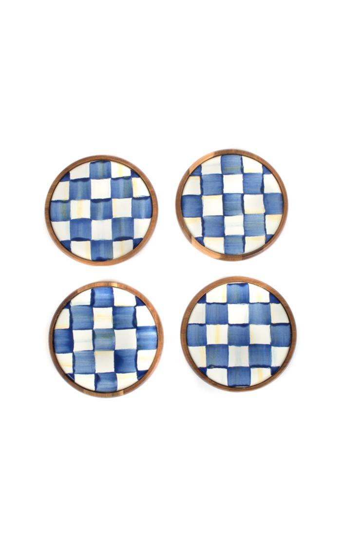MacKenzie Childs Royal Check Coasters - set of 4