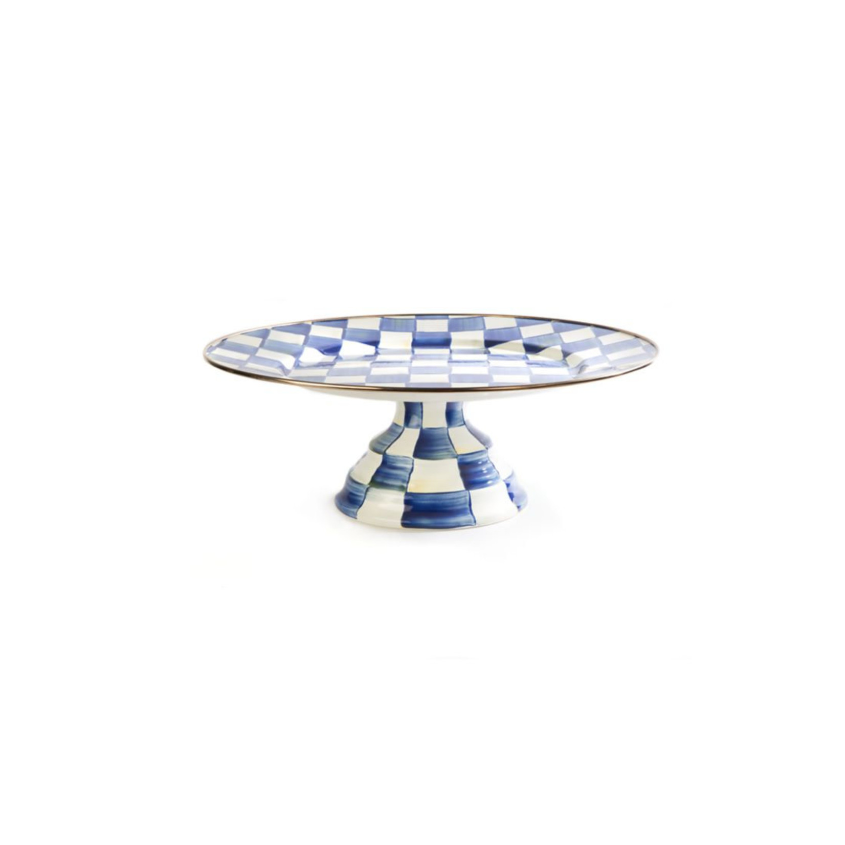 MacKenzie Childs Royal Check Pedestal Platter - Large