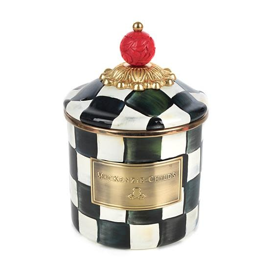 MacKenzie Childs Courtly Check Enamel Canister - Demi