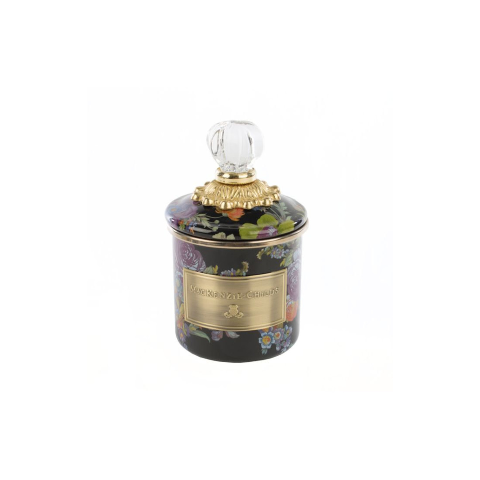MacKenzie Childs Flower Market Mini Canister - Black