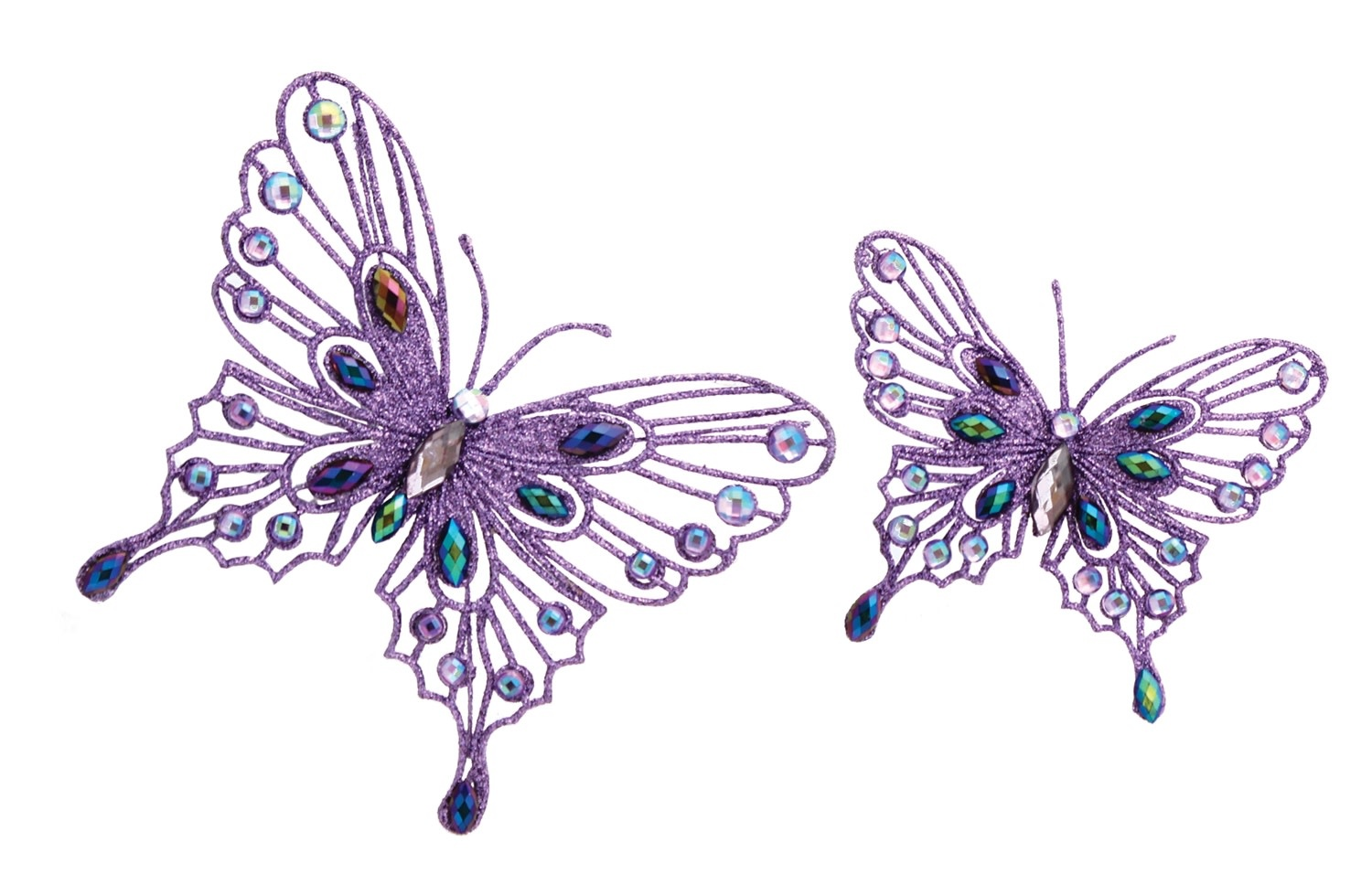 Jeweled Butterfly with Clip - Set of 2