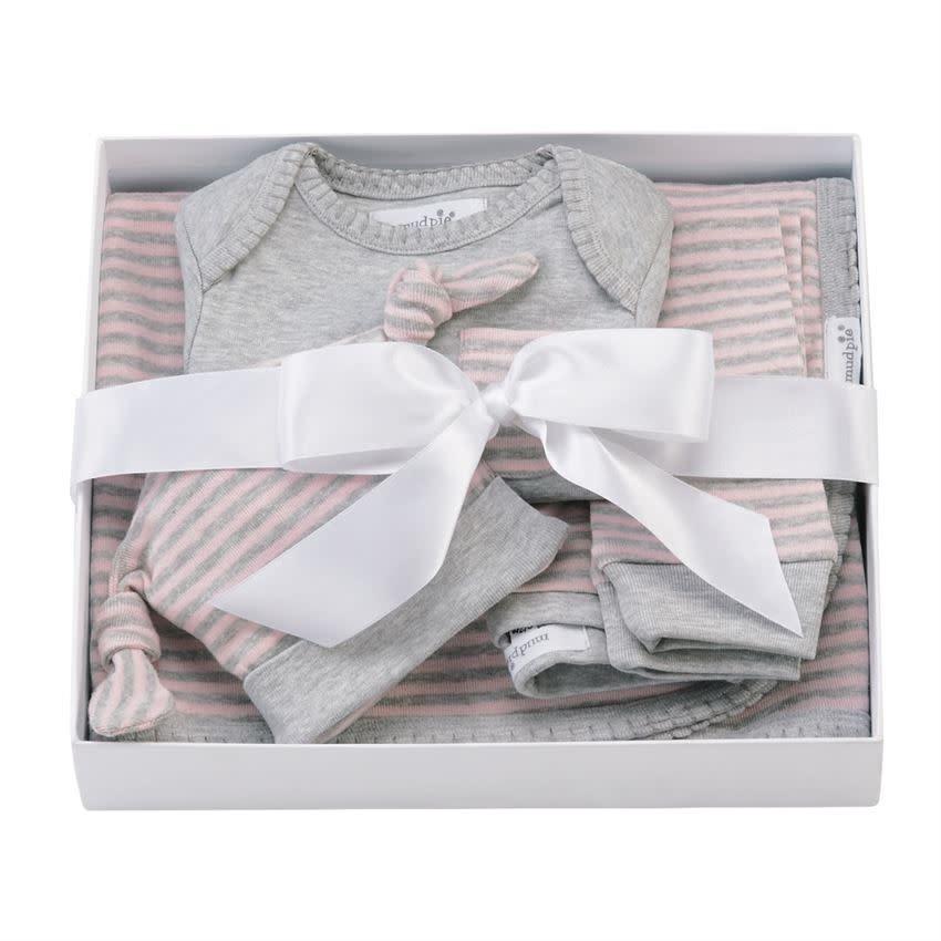 MudPie Grey Pink 4 Piece Gift Set