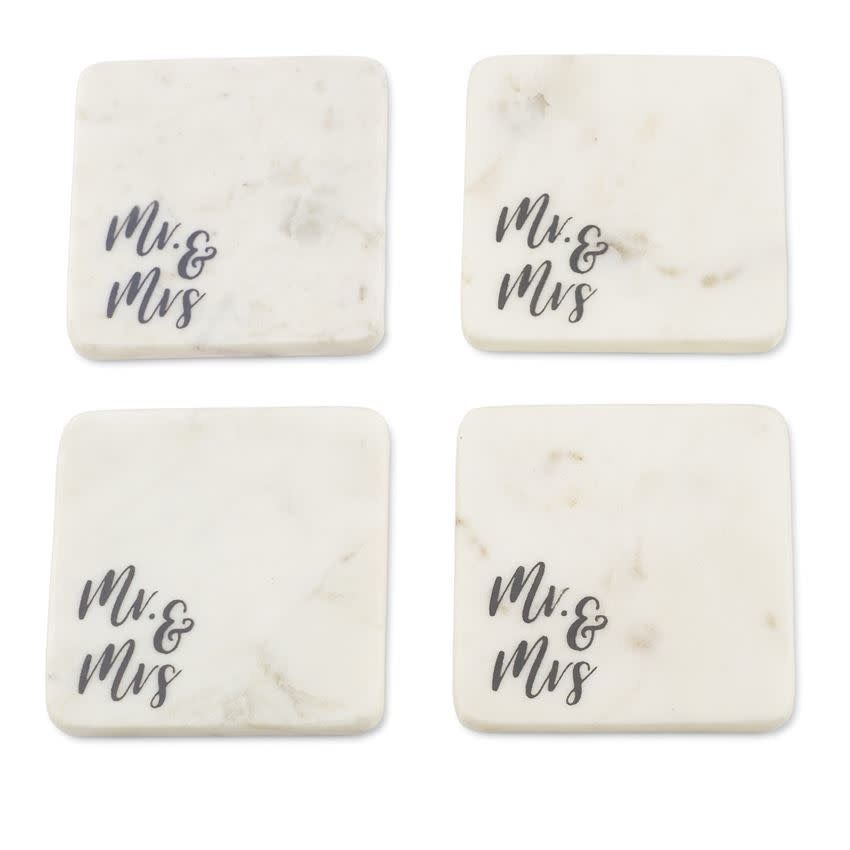 MudPie Mr & Mrs Marble Coaster Set