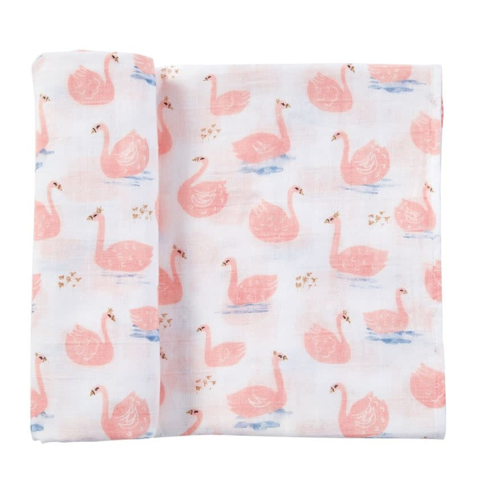 MudPie Muslin Swan Swaddle Blanket