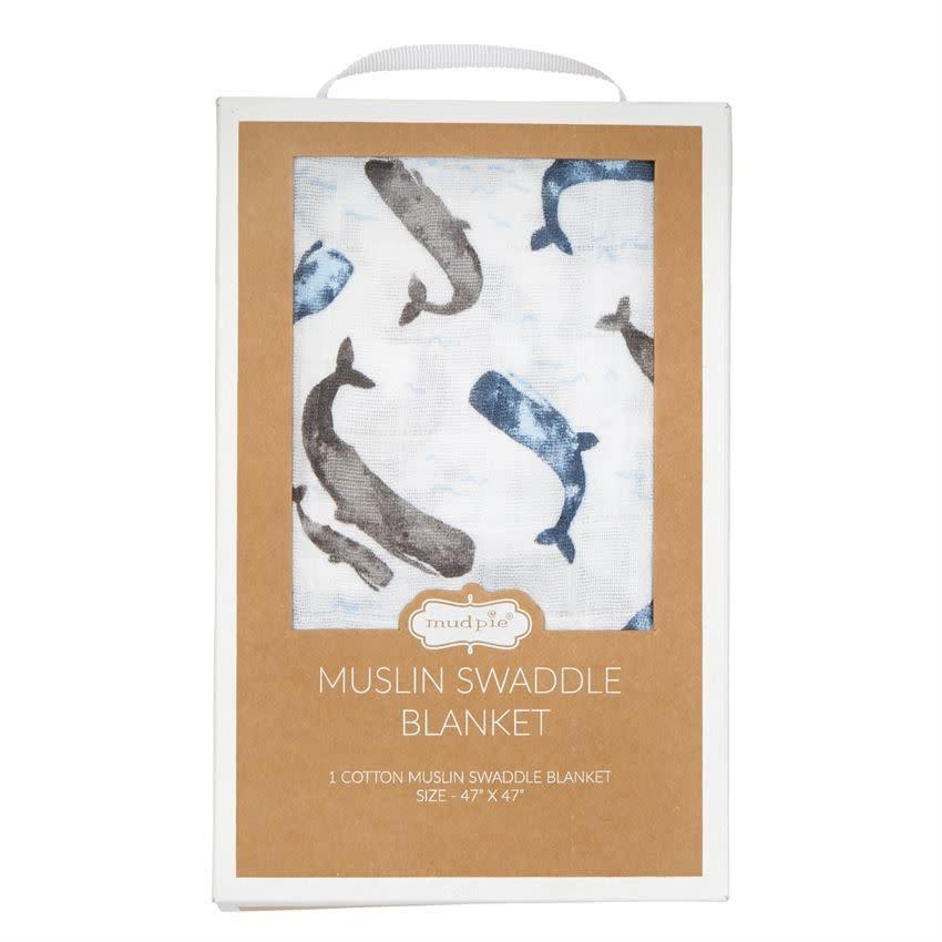 MudPie Muslin Whale Swaddle Blanket