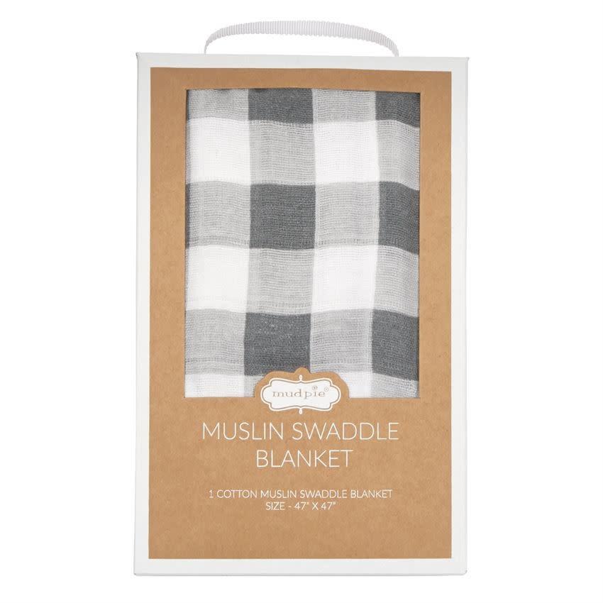 MudPie Muslin Gingham Swaddle Blanket