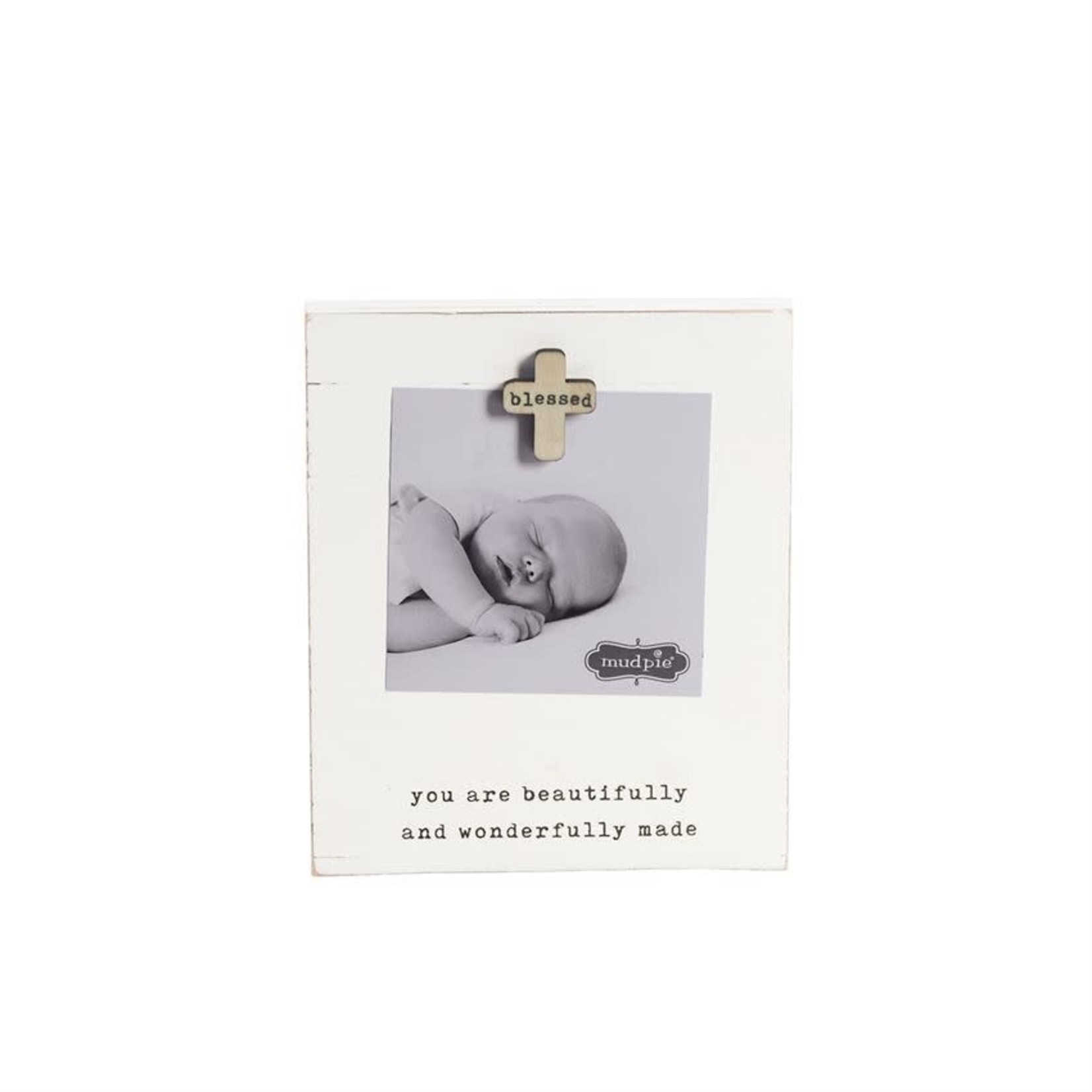 MudPie Blessed Baby Magnet Wood Frame