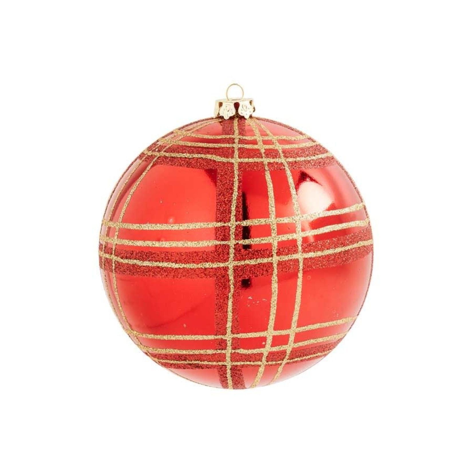 4 inch Red Shatterproof Ornament with Gold Plaid