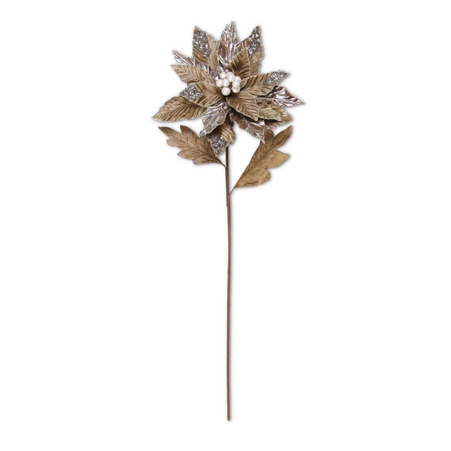 26 Inch Dark Brown Metallic Poinsettia Stem With Silver Sequins