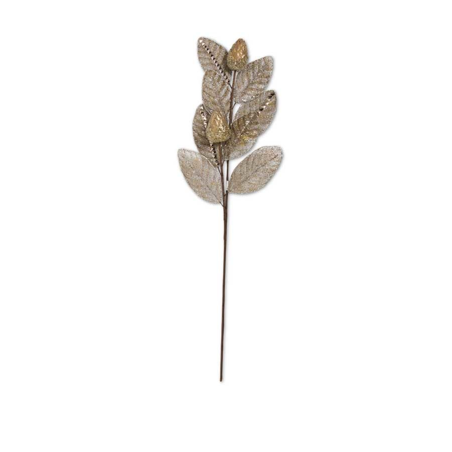 30 Inch Antique Gold Mesh Magnolia Leaf Stem with Gold Pods