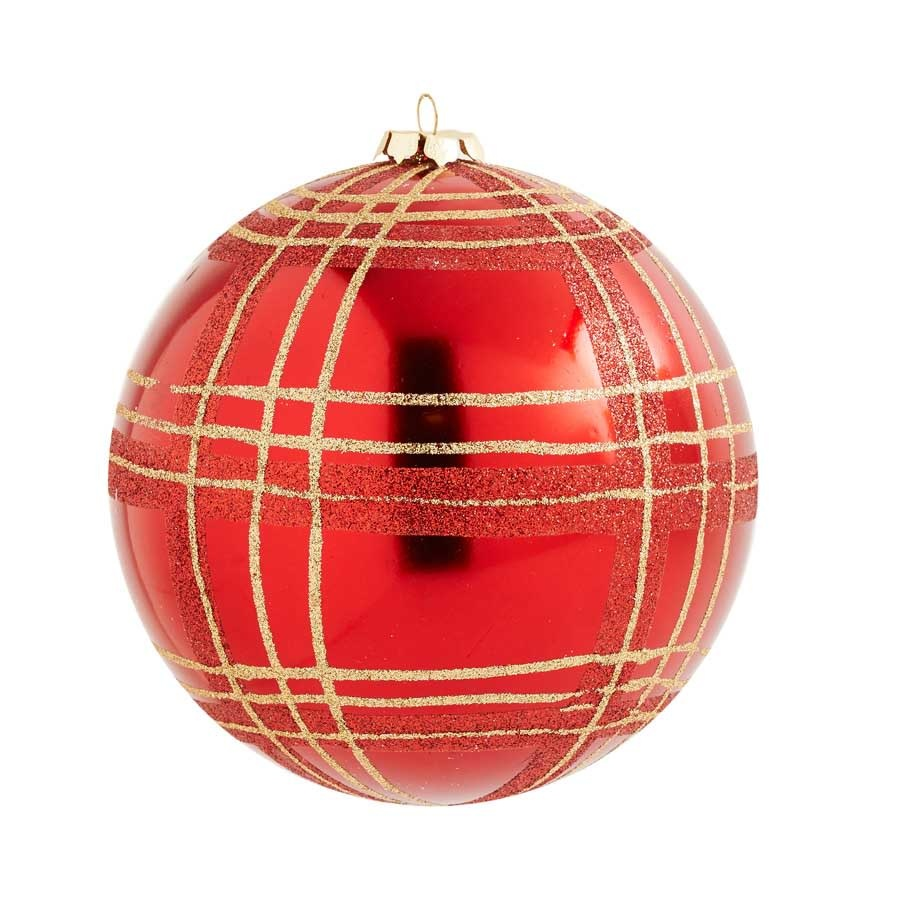 5 inch Red Shatterproof Ornament with Gold Plaid