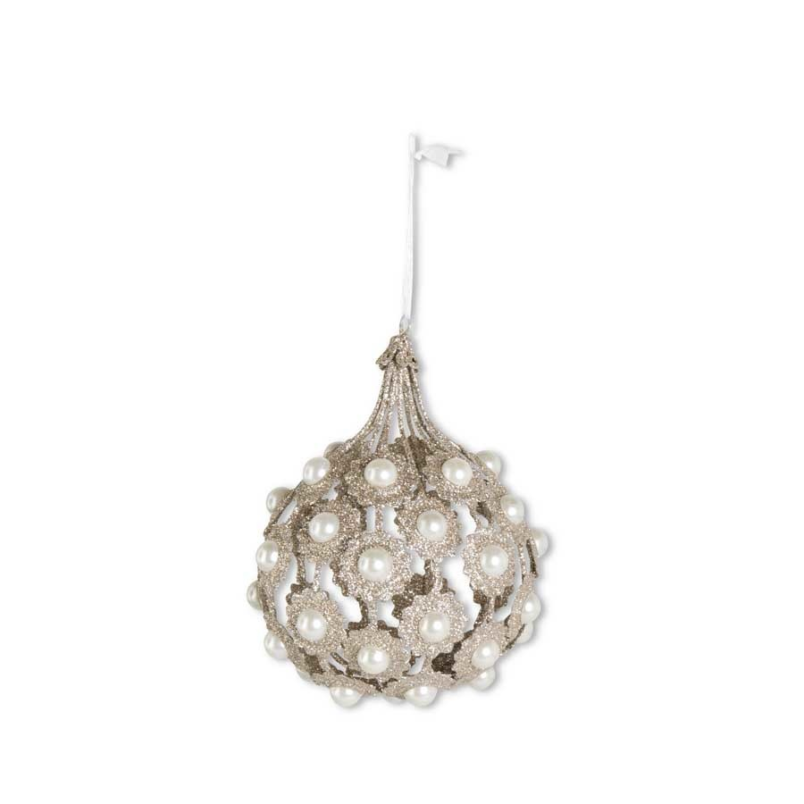 6.75 Inch Champagne Filigree Teardrop Wire Ornament With Pearls