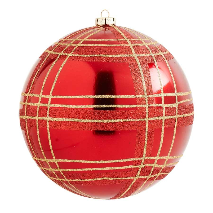 6.5 inch Red Shatterproof Ornament with Gold Plaid